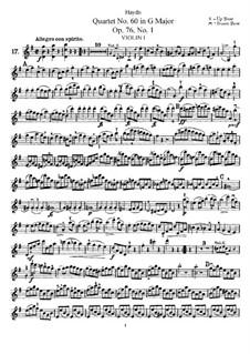 Streichquartett Nr.60 in G-Dur, Hob.III/75 Op.76 No.1: Violinstimme I by Joseph Haydn
