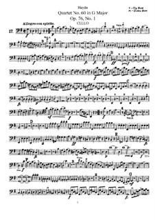 Streichquartett Nr.60 in G-Dur, Hob.III/75 Op.76 No.1: Cellostimme by Joseph Haydn