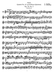 Streichquartett Nr.61 in d-Moll 'Quinten', Hob.III/76 Op.76 No.2: Violinstimme II by Joseph Haydn