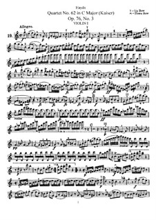Streichquartett Nr.62 in C-Dur 'Kaiser', Hob.III/77 Op.76 No.3: Violinstimme I by Joseph Haydn