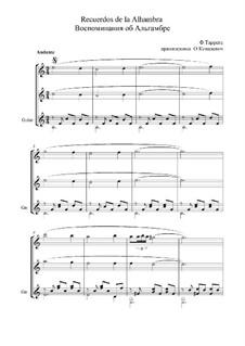 Erinnerungen über Alhambra: For trio instruments by Francisco Tárrega