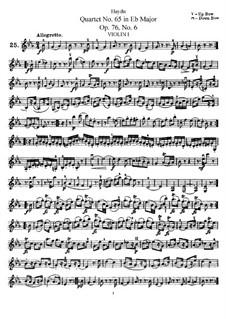 Streichquartett Nr.65 in Es-Dur, Hob.III/80 Op.76 No.6: Violinstimme I by Joseph Haydn