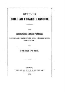 Offener Brief an Eduard Hanslick: Offener Brief an Eduard Hanslick by Robert Franz