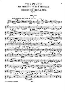 Terzinen für Violine, Bratsche und Cello, Op.25: Violinstimme by Friedrich Hermann