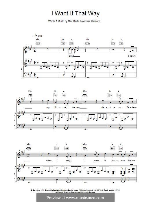 I Want It That Way (Backstreet Boys): Für Stimme und Klavier (oder Gitarre) by Andreas Carlsson, Max Martin