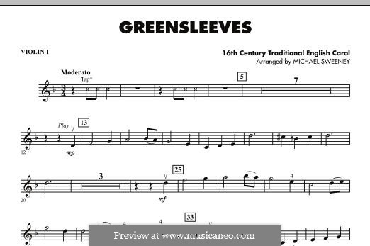 Greensleeves (Printable scores): For strings –Violin 1 part by folklore