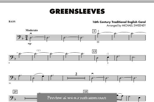 Greensleeves (Printable scores): For strings – String bass part by folklore