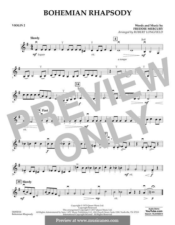 Bohemian Rhapsody (Queen): Violin 2 part by Freddie Mercury