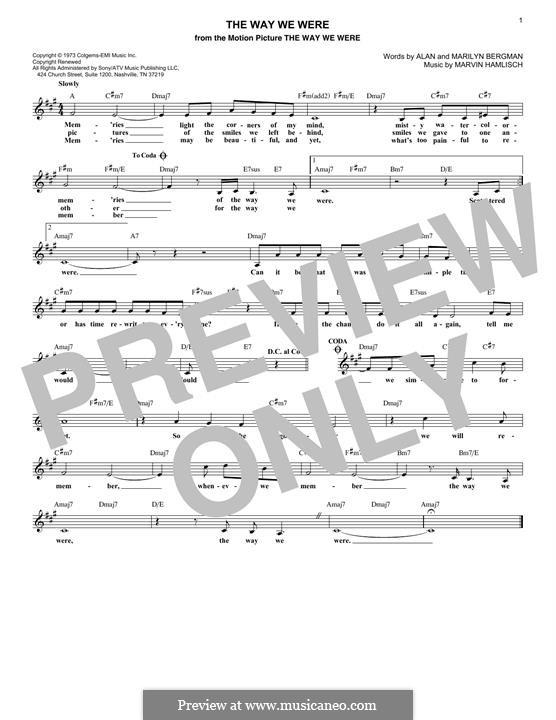 The Way We Were (Barbra Streisand): Melodische Linie by Marvin Hamlisch