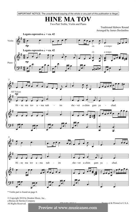 Hine Ma Tov: Für gemischten Chor by folklore