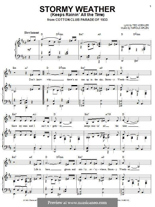 Stormy Weather (Lena Horne): Für Stimme und Klavier (oder Gitarre) by Harold Arlen