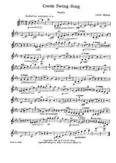 Creole Swing Song: Version for violin (or cello) and piano – solo parts by Luigi Denza