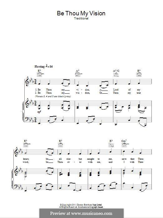 Be Thou My Vision (Printable scores): Für Stimme und Klavier (oder Gitarre) by folklore