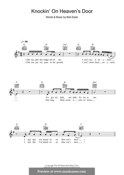 Knockin' on Heaven's Door: Melodische Linie by Bob Dylan