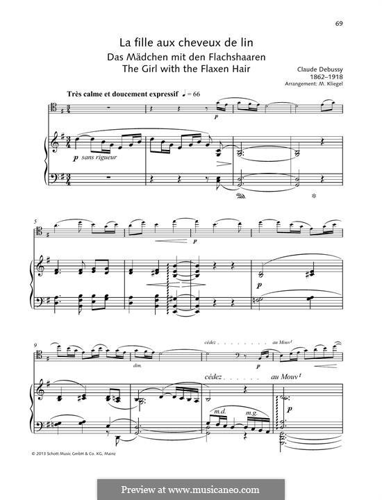 Nr.8 Das Mädchen mit dem flachsfarbenen Haar: Für Violine und Klavier by Claude Debussy