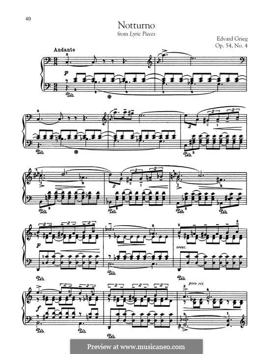 Lyrische Stücke, Op.54: No.4 Nocturne by Edvard Grieg