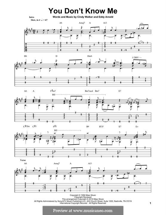 You Don't Know Me: Für Gitarre mit Tabulatur by Cindy Walker, Eddy Arnold