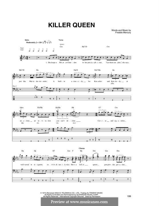 Killer Queen (Queen): Für Bassgitarre mit Tabulatur by Freddie Mercury