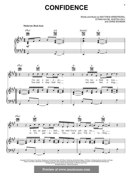 Confidence (Sanctus Real): Für Stimme und Klavier (oder Gitarre) by Chris Rohman, Matt Armstrong, Dustin Lolli, Ethan Hulse