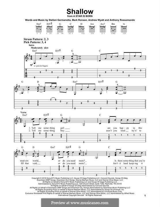 Shallow (from A Star is Born): Für Gitarre by Andrew Wyatt, Anthony Rossomando, Mark Ronson, Stefani Germanotta