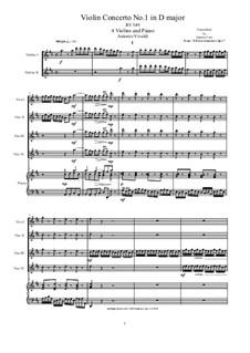 Konzert für vier Violinen und Streicher Nr.1 in D-Dur, RV 549: Arrangement for four violins and piano by Antonio Vivaldi