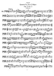 Streichquartett Nr.8 in E-Dur, Hob.III/8 Op.2 No.2: Cellostimme by Joseph Haydn