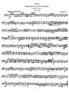 Streichquartett Nr.13 in G-Dur, Hob.III/21 Op.9 No.3: Cellostimme by Joseph Haydn