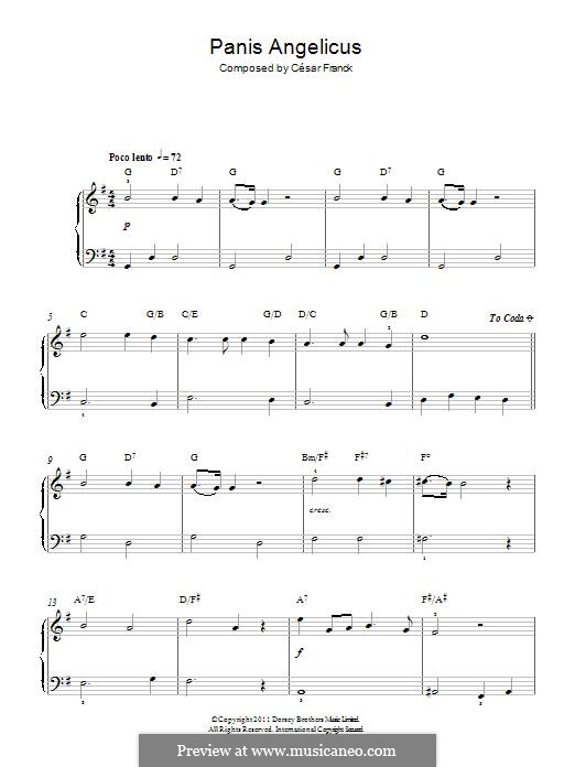 Panis Angelicus (O Lord Most Holy), Printable Scores: Für Klavier by César Franck