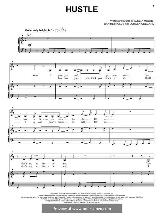 Hustle (Pink): Für Stimme und Klavier (oder Gitarre) by Alecia Moore, Daniel Reynolds, Jorgen Odegard