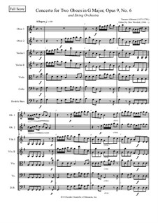 Dodici concerti a cinque, Op.9: Concerto No.6 in G major, for two oboes and string orchestra by Tomaso Albinoni