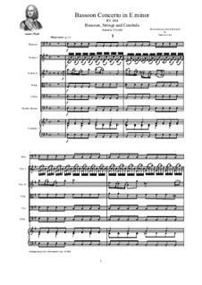 Concerto for Flute and Piano in E Minor, RV 484: Version for bassoon, strings and cembalo by Antonio Vivaldi