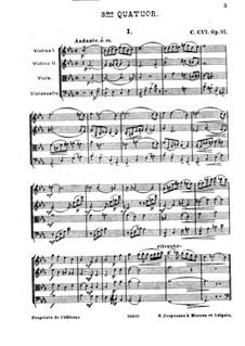 Streichquartett Nr.3 in Es-Dur, Op.91: Teil I by César Cui