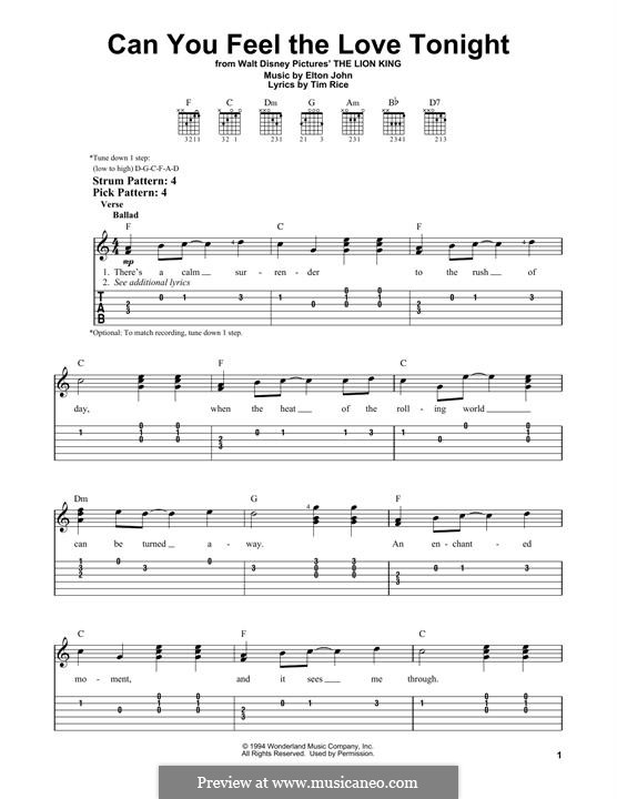 Can You Feel the Love Tonight (from The Lion King), instrument version: Für Gitarre mit Tabulatur by Elton John