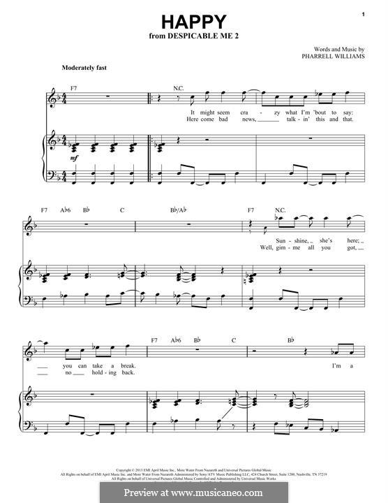 Happy (from Despicable Me 2): Für Stimme und Klavier by Pharrell Williams