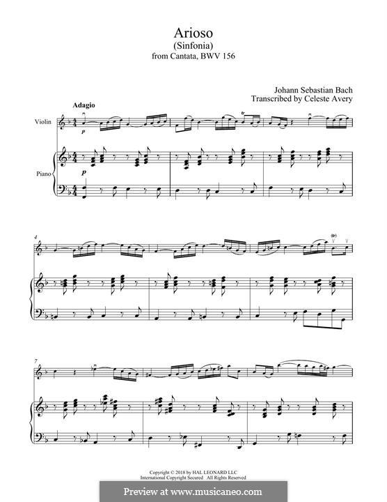 Konzert für Cembalo und Streicher Nr.5 in f-Moll, BWV 1056: Movement II. Arrangement for violin and piano by Johann Sebastian Bach