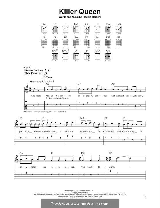 Killer Queen (Queen): Für Gitarre by Freddie Mercury