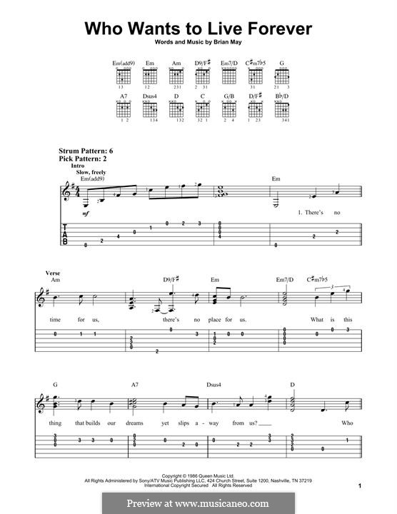 Who Wants to Live Forever? (Queen): Für Gitarre mit Tabulatur by Brian May
