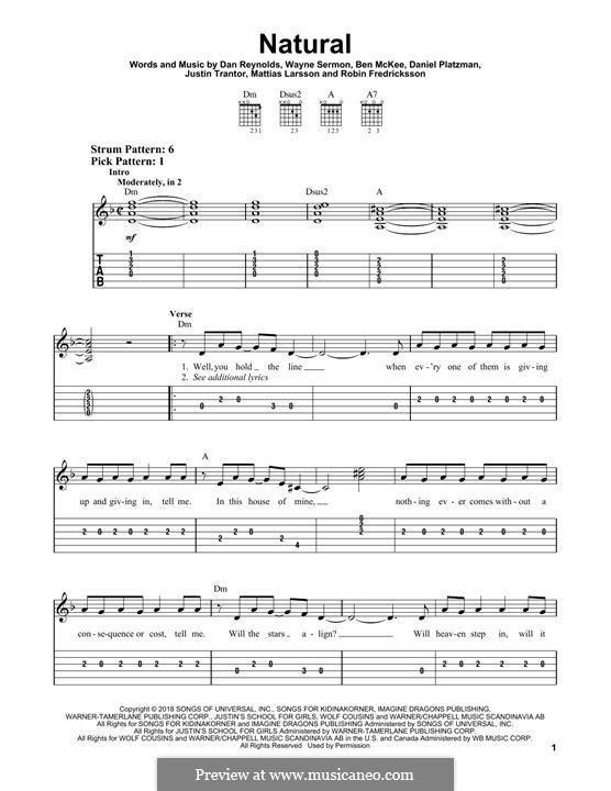 Natural (Imagine Dragons): Für Gitarre mit Tabulatur by Benjamin McKee, Daniel Reynolds, Daniel Platzman, Justin Tranter, Mattias Larsson, Robin Fredriksson, Wayne Sermon