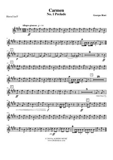 Erste Suite: Prelude - Horn in F 1 (Transposed Part) by Georges Bizet