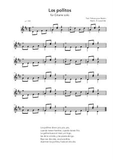Los pollitos: For guitar solo (very easy version) D Major by folklore
