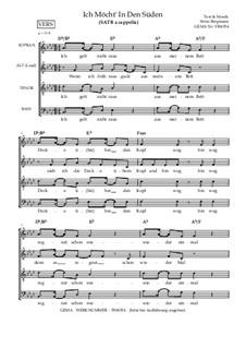 Ich möcht' in den Süden - Pop / Schlager / Jazz: Gemischter Chor SATB a cappella, SB13c by Soerin Bergmann