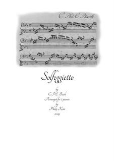 Solfeggietto, H 220 Wq 117:2: Für zwei Klaviere, vierhändig by Carl Philipp Emanuel Bach