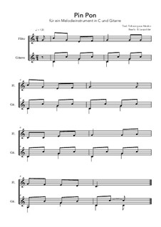 Pin Pon: For melody instrument in C and guitar (C Major) by folklore