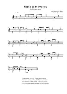Rosita de Monterrey: For guitar solo (F Major) by folklore