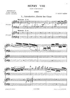 Henry VIII: Ballet Divertissement, for Two Pianos Four Hands by Camille Saint-Saëns
