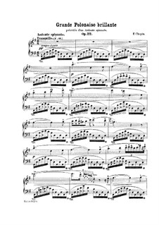 Andante spianato und Grosse brillante Polonäse, Op.22: Für Klavier (mit Applikatur) by Frédéric Chopin