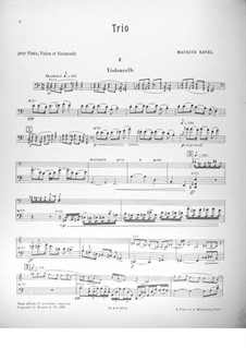 Klaviertrio in a-Moll, M.67: Cellostimme by Maurice Ravel