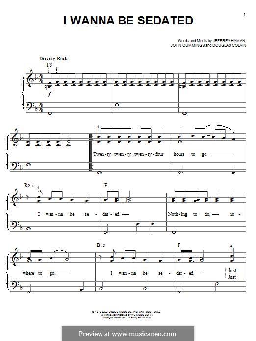 I Wanna Be Sedated (Ramones): Für Klavier by Dee Dee Ramone, Jeffrey Hyman, John Cummings