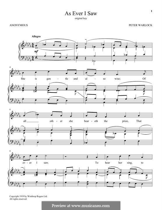 As Ever I Saw: Für Stimme und Klavier by Peter Warlock
