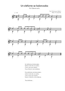 Un elefante se balanceaba: For guitar solo (G Major) by folklore